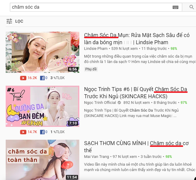 tìm kiếm top từ khóa trên youtube